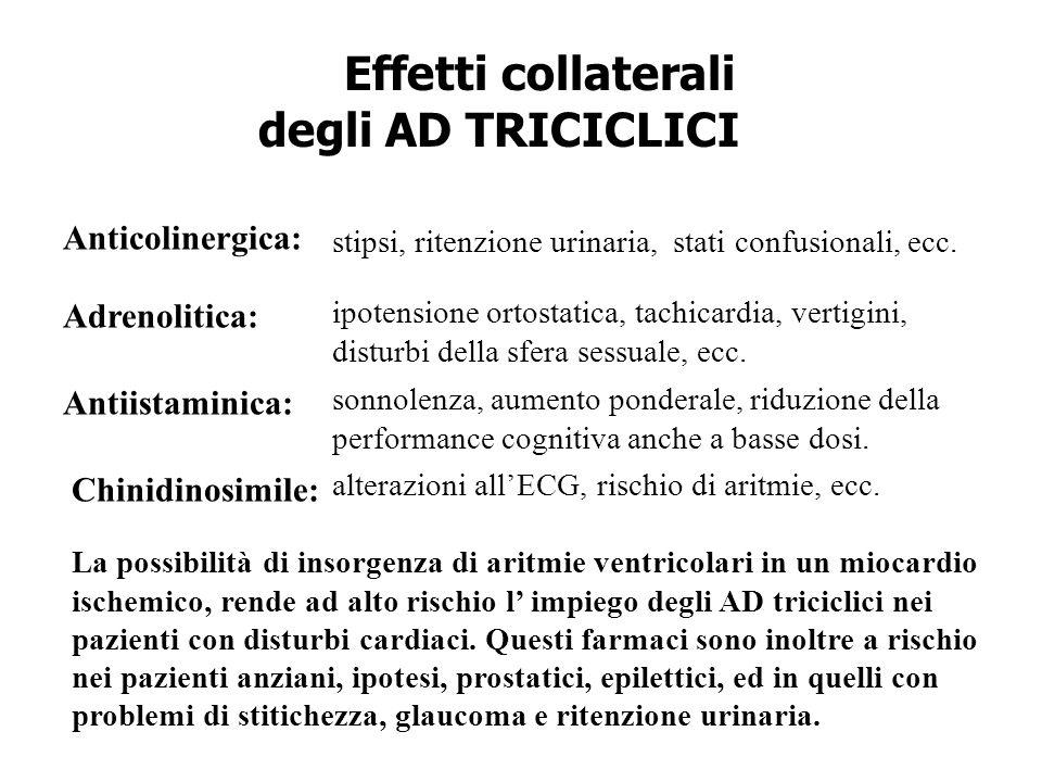 Effetti collaterali degli AD TRICICLICI Anticolinergica: Adrenolitica: Antiistaminica: Chinidinosimile: ipotensione ortostatica, tachicardia, vertigin