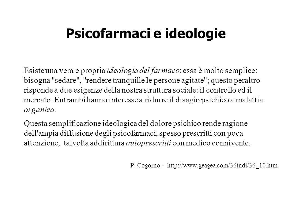 Psicofarmaci e ideologie Esiste una vera e propria ideologia del farmaco; essa è molto semplice: bisogna