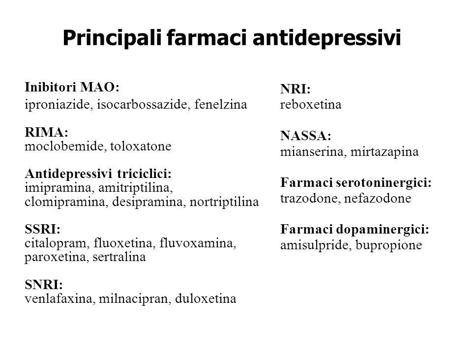 Principali farmaci antidepressivi Inibitori MAO: iproniazide, isocarbossazide, fenelzina RIMA: moclobemide, toloxatone Antidepressivi triciclici: imip