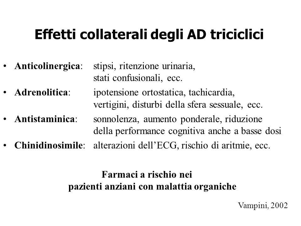Effetti collaterali degli AD triciclici Anticolinergica: stipsi, ritenzione urinaria, stati confusionali, ecc. Adrenolitica:ipotensione ortostatica, t