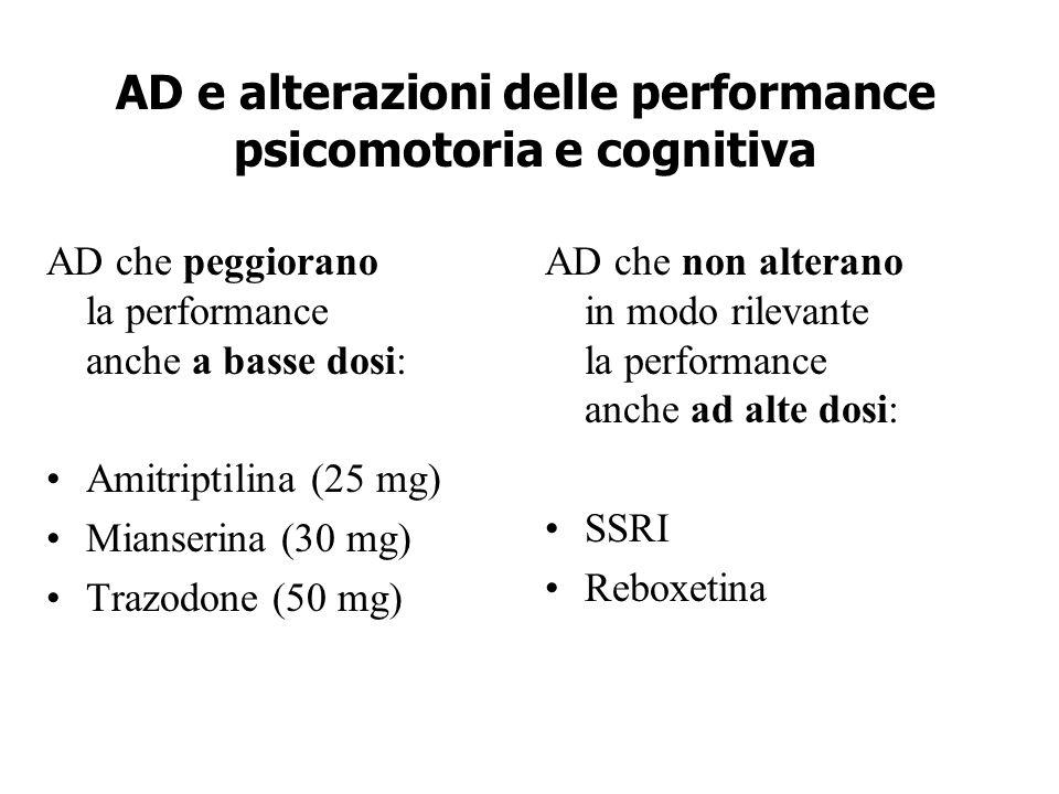AD e alterazioni delle performance psicomotoria e cognitiva AD che peggiorano la performance anche a basse dosi: Amitriptilina (25 mg) Mianserina (30