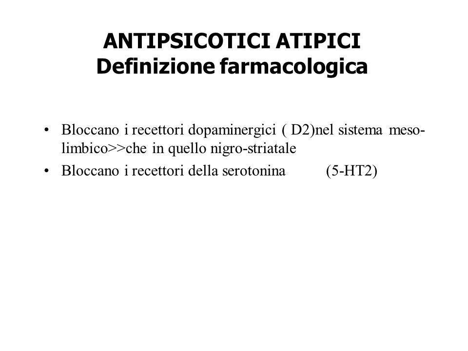 ANTIPSICOTICI ATIPICI Definizione farmacologica Bloccano i recettori dopaminergici ( D2)nel sistema meso- limbico>>che in quello nigro-striatale Blocc