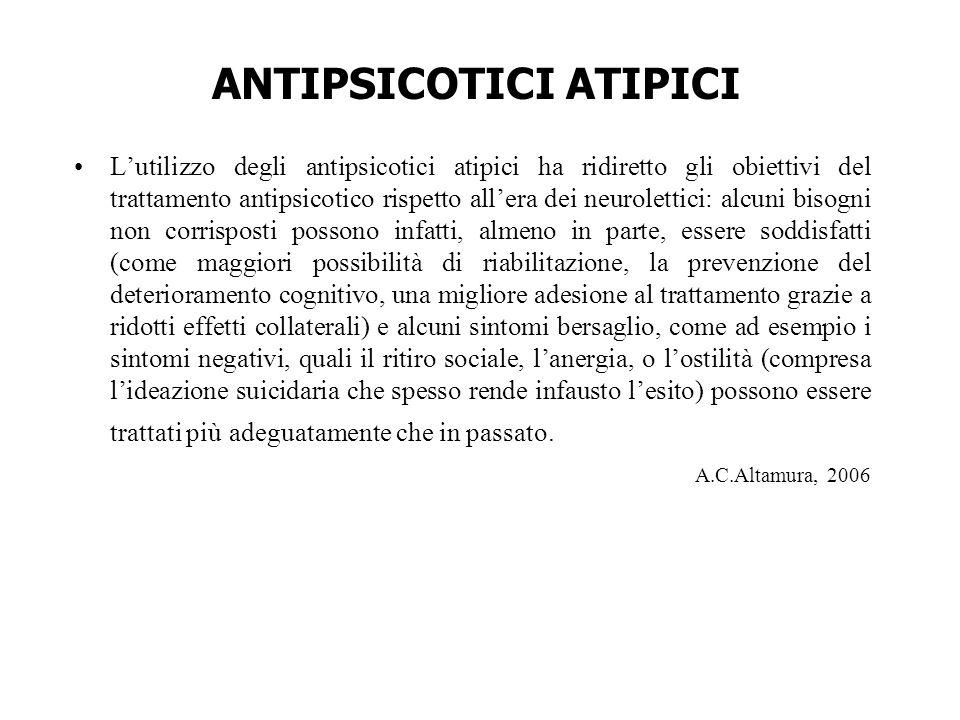 ANTIPSICOTICI ATIPICI L'utilizzo degli antipsicotici atipici ha ridiretto gli obiettivi del trattamento antipsicotico rispetto all'era dei neurolettic