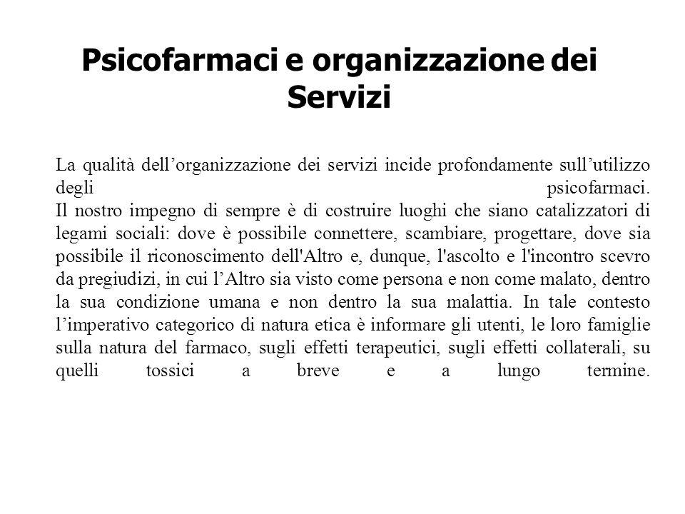 Psicofarmaci e organizzazione dei Servizi La qualità dell'organizzazione dei servizi incide profondamente sull'utilizzo degli psicofarmaci. Il nostro