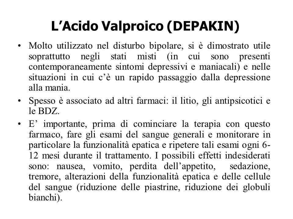 L'Acido Valproico (DEPAKIN) Molto utilizzato nel disturbo bipolare, si è dimostrato utile soprattutto negli stati misti (in cui sono presenti contempo