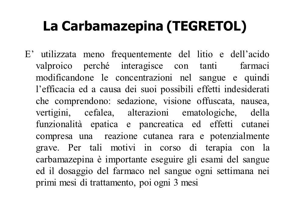 La Carbamazepina (TEGRETOL) E' utilizzata meno frequentemente del litio e dell'acido valproico perché interagisce con tanti farmaci modificandone le c