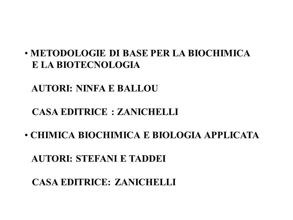 METODOLOGIE DI BASE PER LA BIOCHIMICA E LA BIOTECNOLOGIA AUTORI: NINFA E BALLOU CASA EDITRICE : ZANICHELLI CHIMICA BIOCHIMICA E BIOLOGIA APPLICATA AUT