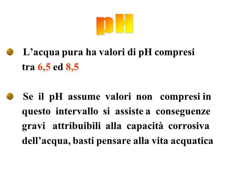 L'acqua pura ha valori di pH compresi tra 6,5 ed 8,5 Se il pH assume valori non compresi in questo intervallo si assiste a conseguenze gravi attribuib