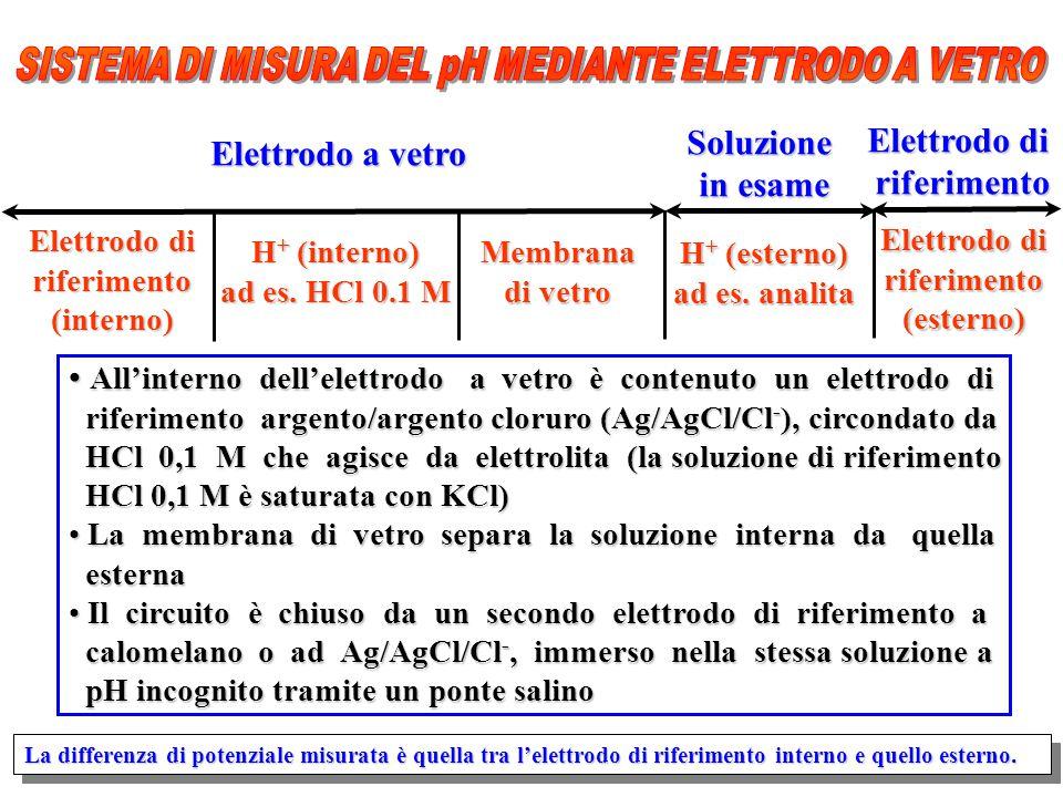 Elettrodo di riferimento(interno) H + (interno) ad es. HCl 0.1 M Membrana di vetro H + (esterno) ad es. analita Elettrodo di riferimento(esterno) Elet