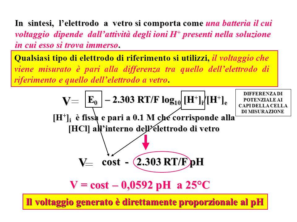 In sintesi, l'elettrodo a vetro si comporta come una batteria il cui voltaggio dipende dall'attività degli ioni H + presenti nella soluzione in cui es