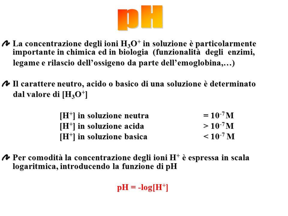 La concentrazione degli ioni H 3 O + in soluzione è particolarmente importante in chimica ed in biologia (funzionalità degli enzimi, legame e rilascio
