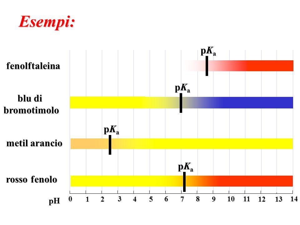 0 2 4 6 1 3 5 7 8 10 12 14 9 11 13 pH fenolftaleina blu di bromotimolo metil arancio rosso fenolo Esempi: pKapKapKapKa pKapKapKapKa pKapKapKapKa pKapK