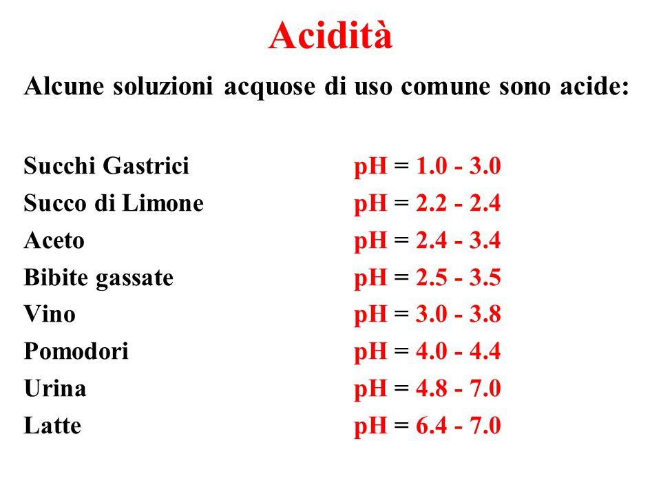 Basicità Altre soluzioni acquose di uso comune sono basiche: Saliva Umana pH = 7.0 - 7.3 Sangue Umano pH = 7.3 - 7.5 Uova Fresche pH = 7.6 - 8.0 Acqua di Mare pH = 7.8 - 8.3 Bicarbonato di Sodio (soluzione) pH = 8.4 Carbonato di calcio (soluzione) pH = 9.4 Detergenti con Ammoniaca pH = 10.5 – 11.9