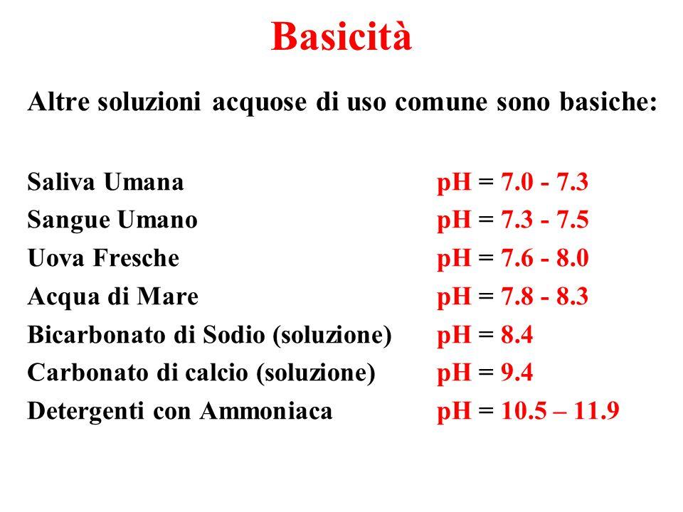Basicità Altre soluzioni acquose di uso comune sono basiche: Saliva Umana pH = 7.0 - 7.3 Sangue Umano pH = 7.3 - 7.5 Uova Fresche pH = 7.6 - 8.0 Acqua