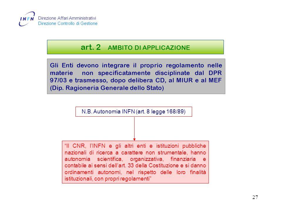Direzione Affari Amministrativi Direzione Controllo di Gestione 26 art.