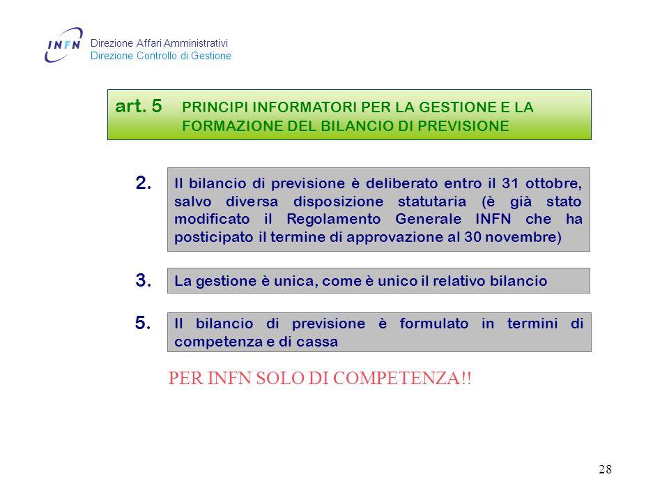 Direzione Affari Amministrativi Direzione Controllo di Gestione 27 N.B.