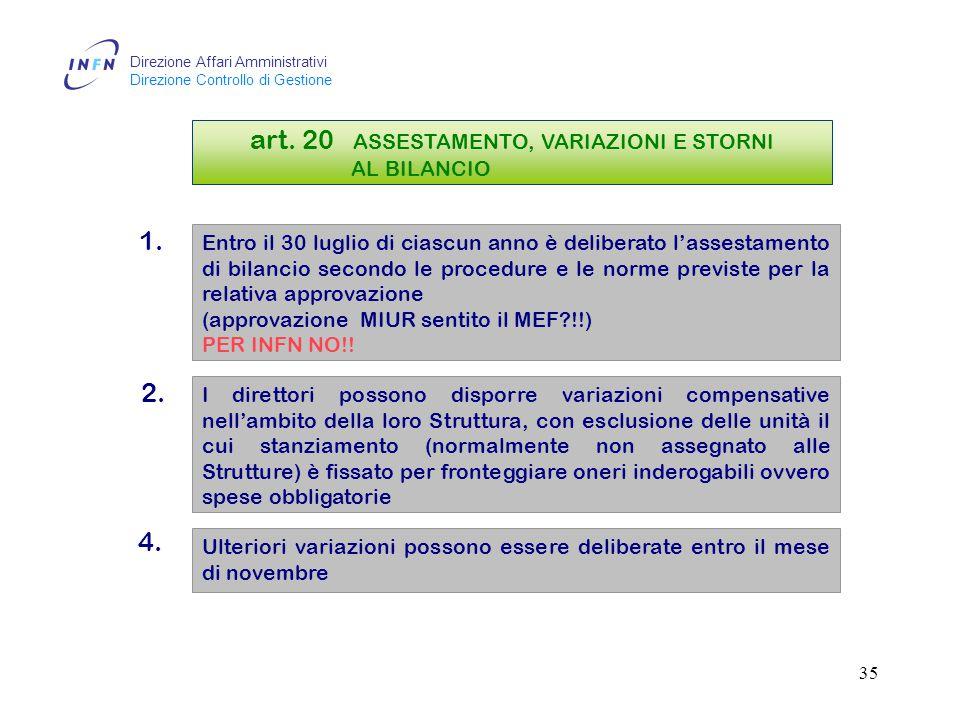 Direzione Affari Amministrativi Direzione Controllo di Gestione 34 art.