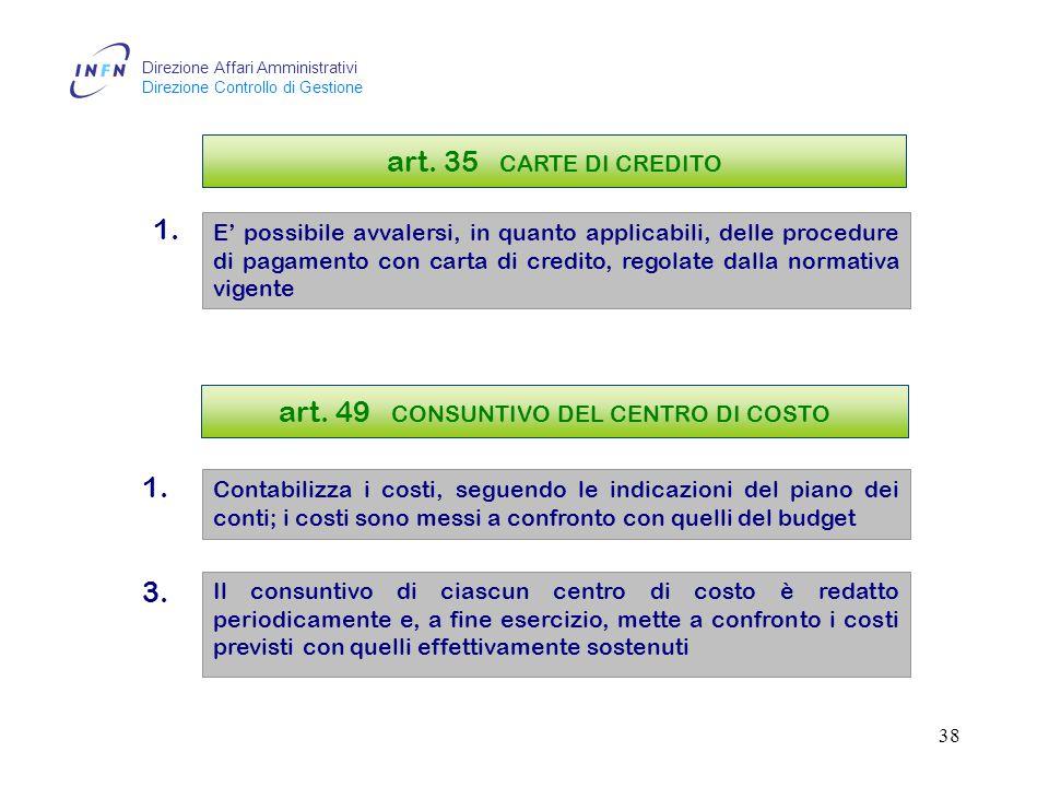 Direzione Affari Amministrativi Direzione Controllo di Gestione 37 art.