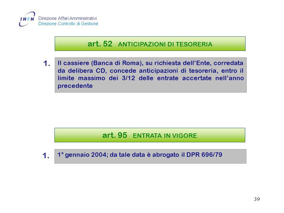 Direzione Affari Amministrativi Direzione Controllo di Gestione 38 art.