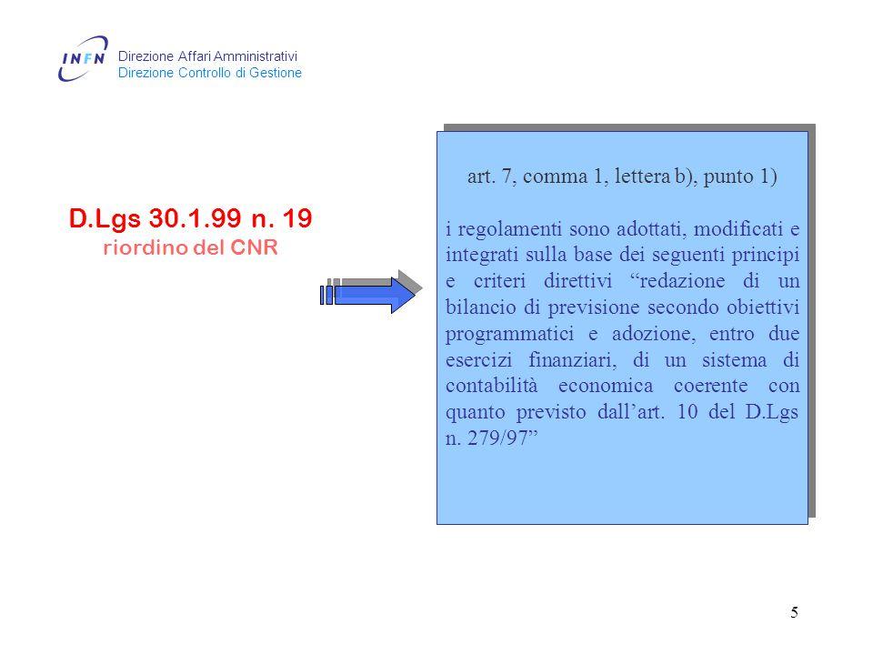 Direzione Affari Amministrativi Direzione Controllo di Gestione 4 D.Lgs 29.9.99 n.