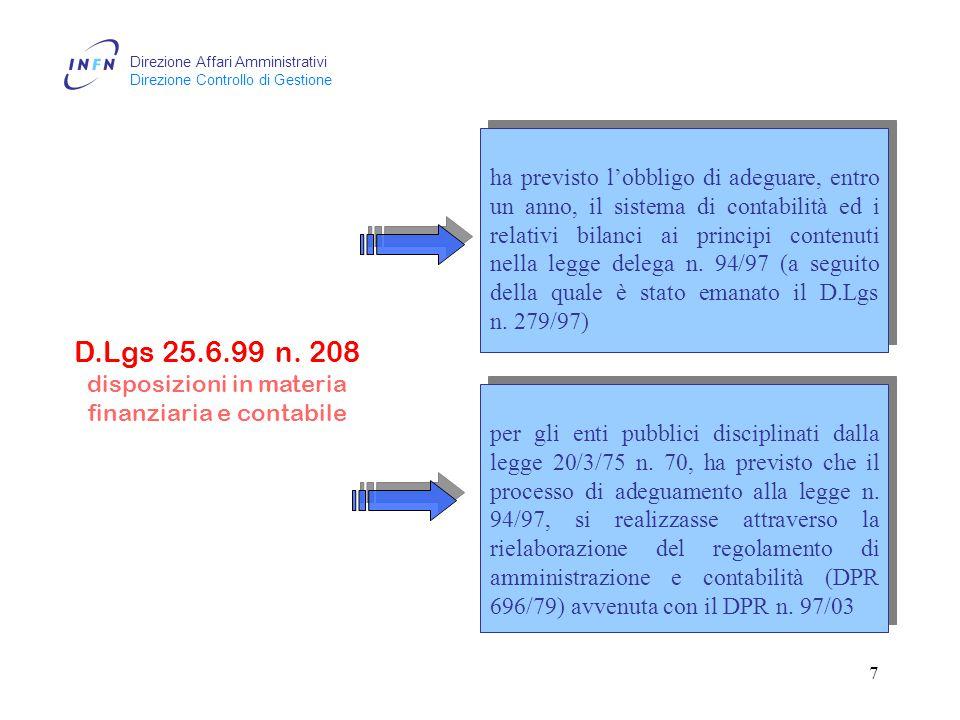 Direzione Affari Amministrativi Direzione Controllo di Gestione 6 D.Lgs 7.8.97 n.