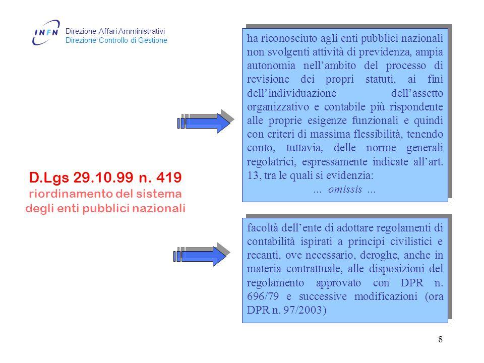 Direzione Affari Amministrativi Direzione Controllo di Gestione 7 D.Lgs 25.6.99 n.