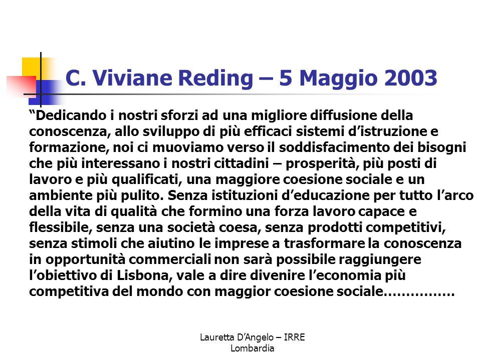 """Lauretta D'Angelo – IRRE Lombardia C. Viviane Reding – 5 Maggio 2003 """"Dedicando i nostri sforzi ad una migliore diffusione della conoscenza, allo svil"""