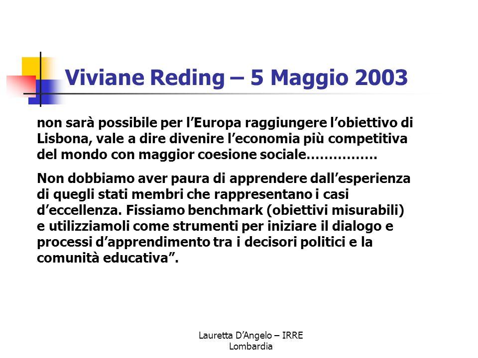 Lauretta D'Angelo – IRRE Lombardia Viviane Reding – 5 Maggio 2003 non sarà possibile per l'Europa raggiungere l'obiettivo di Lisbona, vale a dire dive