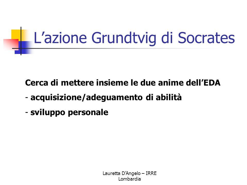 Lauretta D'Angelo – IRRE Lombardia L'azione Grundtvig di Socrates Cerca di mettere insieme le due anime dell'EDA - acquisizione/adeguamento di abilità