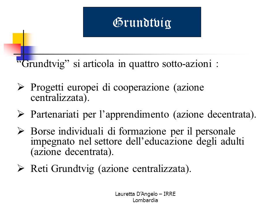 """Lauretta D'Angelo – IRRE Lombardia Grundtvig """"Grundtvig"""" si articola in quattro sotto-azioni :  Progetti europei di cooperazione (azione centralizzat"""