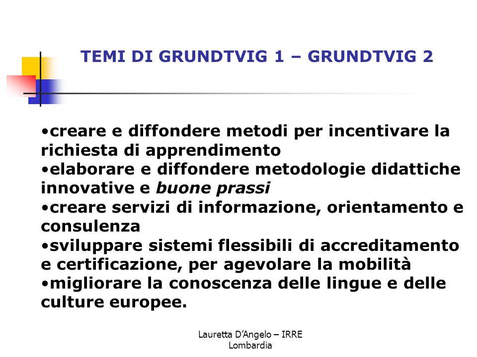 Lauretta D'Angelo – IRRE Lombardia creare e diffondere metodi per incentivare la richiesta di apprendimento elaborare e diffondere metodologie didatti