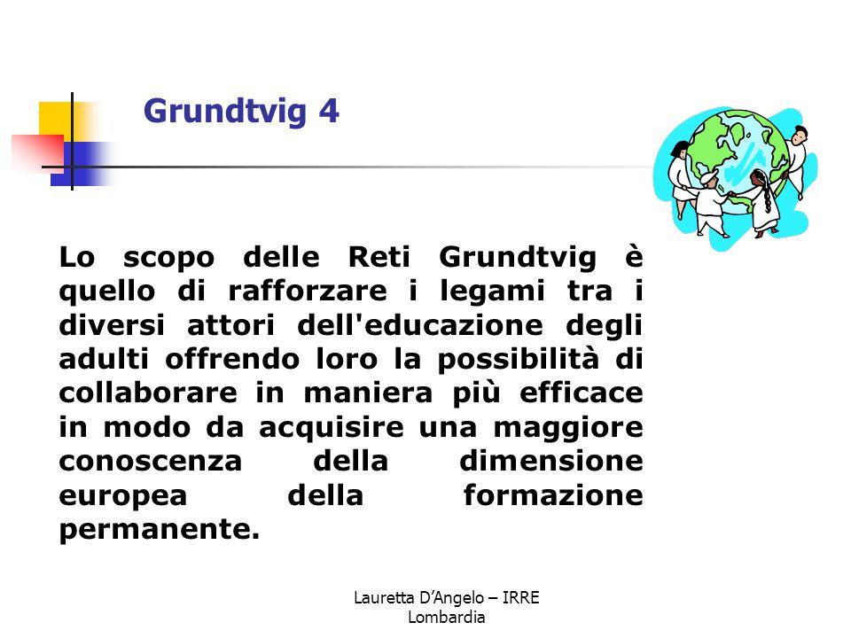 Lauretta D'Angelo – IRRE Lombardia Lo scopo delle Reti Grundtvig è quello di rafforzare i legami tra i diversi attori dell'educazione degli adulti off