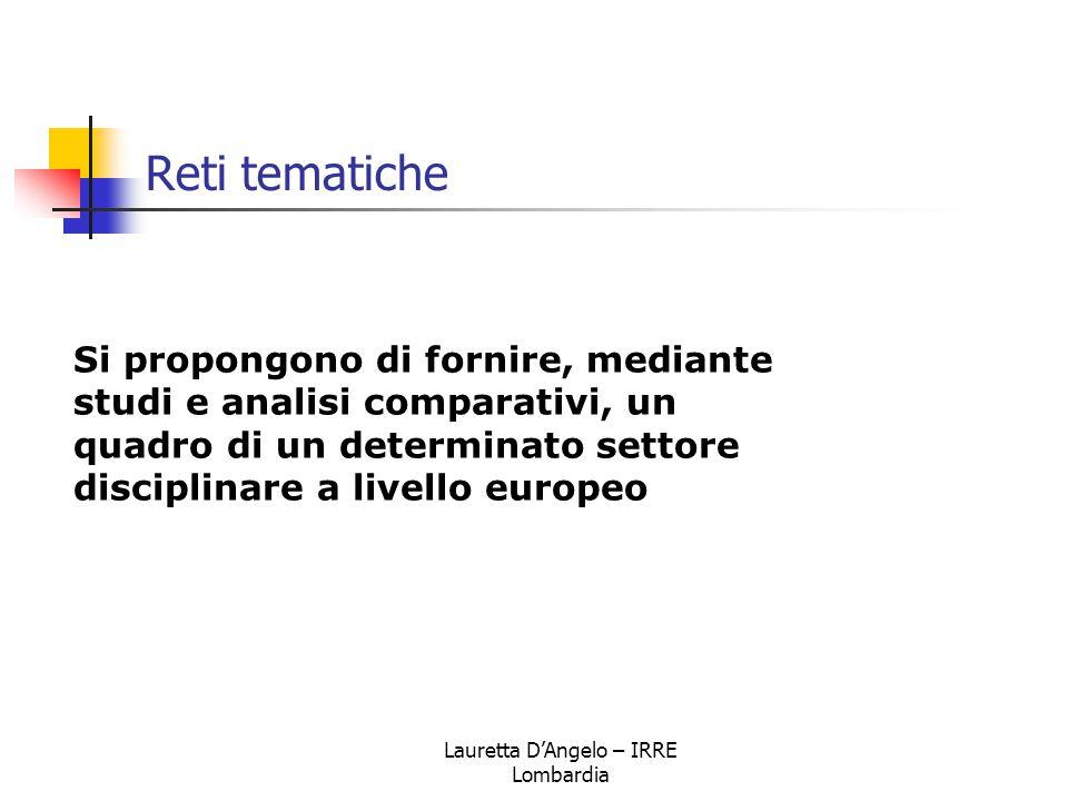 Lauretta D'Angelo – IRRE Lombardia Reti tematiche Si propongono di fornire, mediante studi e analisi comparativi, un quadro di un determinato settore