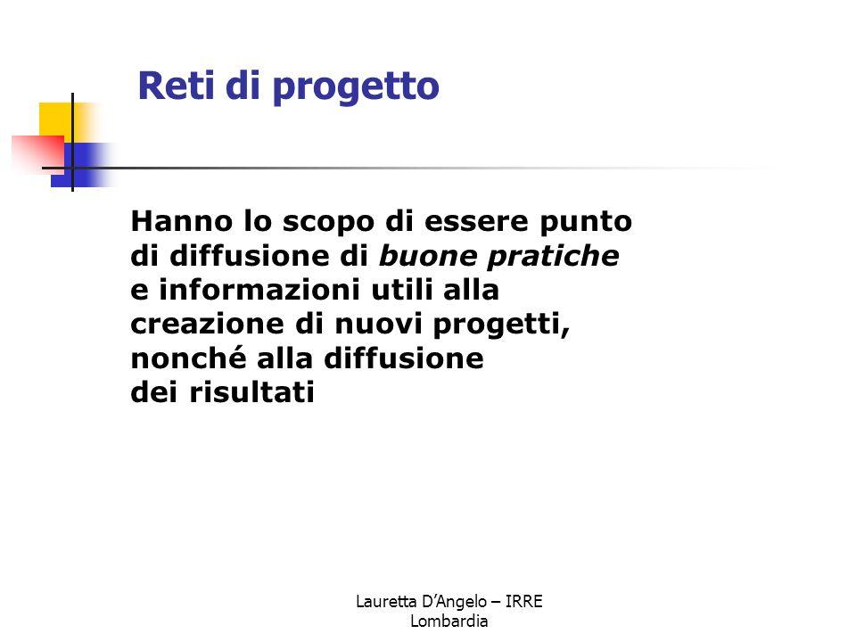 Lauretta D'Angelo – IRRE Lombardia Hanno lo scopo di essere punto di diffusione di buone pratiche e informazioni utili alla creazione di nuovi progett