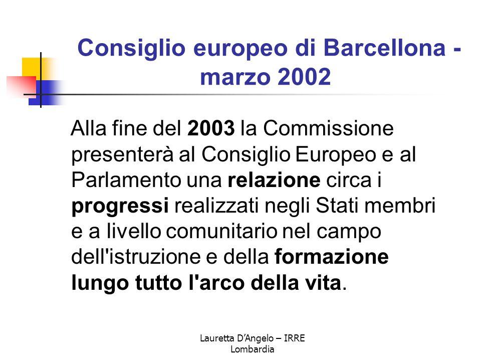 Lauretta D'Angelo – IRRE Lombardia Consiglio europeo di Barcellona - marzo 2002 Alla fine del 2003 la Commissione presenterà al Consiglio Europeo e al