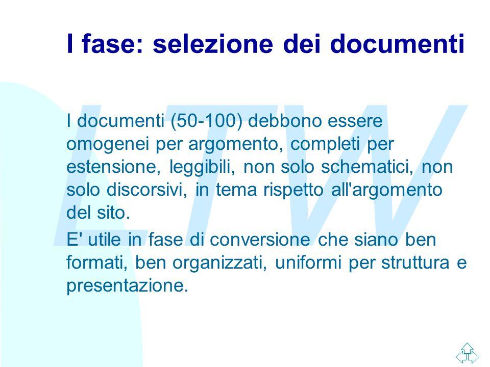 LTW I fase: selezione dei documenti I documenti (50-100) debbono essere omogenei per argomento, completi per estensione, leggibili, non solo schematici, non solo discorsivi, in tema rispetto all argomento del sito.