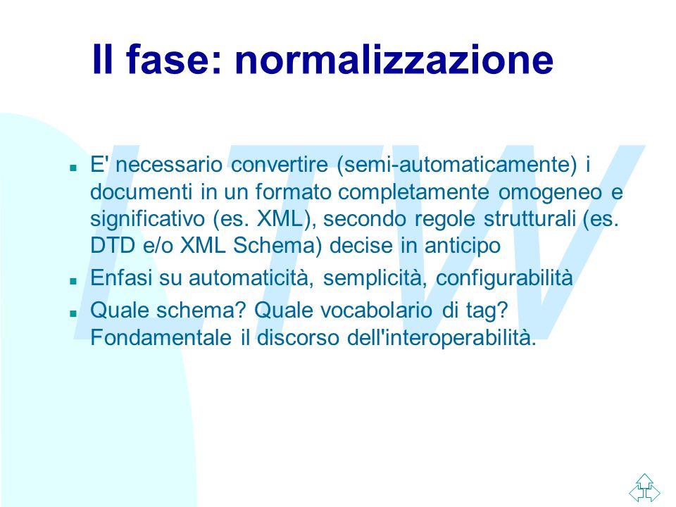 LTW II fase: normalizzazione n E necessario convertire (semi-automaticamente) i documenti in un formato completamente omogeneo e significativo (es.