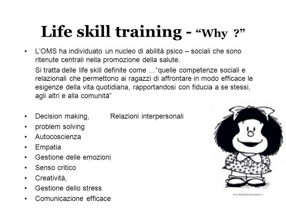 """Life skill training - """"Why ?"""" L'OMS ha individuato un nucleo di abilità psico – sociali che sono ritenute centrali nella promozione della salute. Si t"""