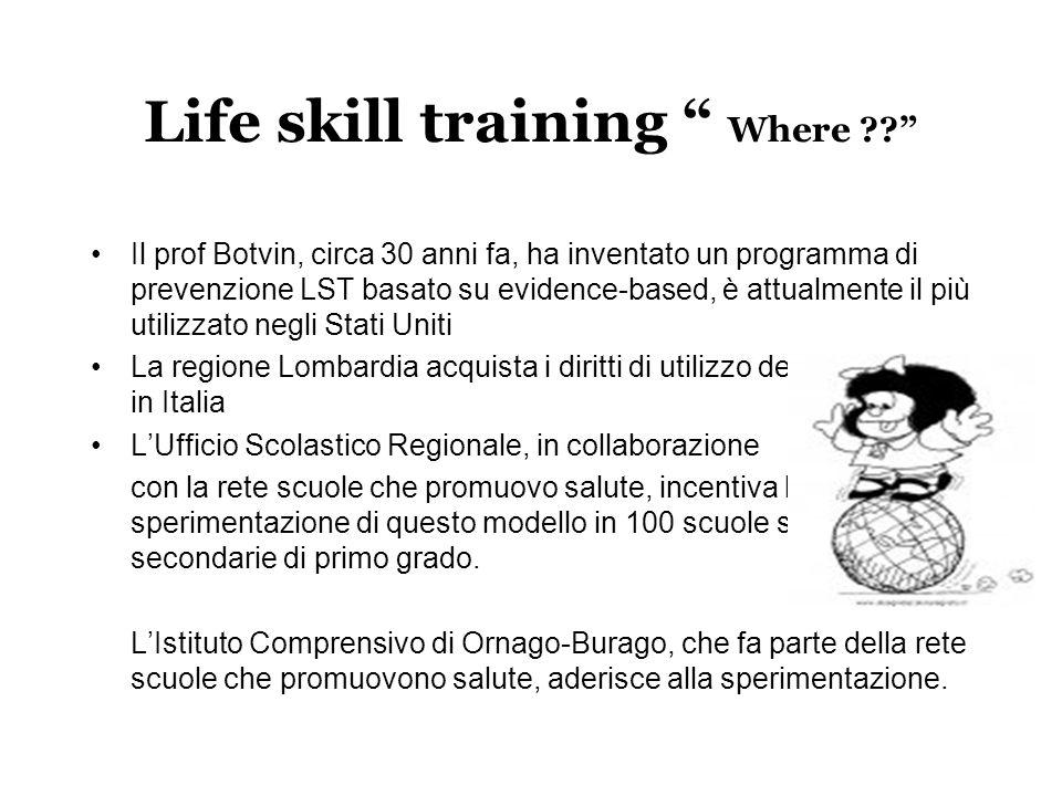 """Life skill training """" Where ??"""" Il prof Botvin, circa 30 anni fa, ha inventato un programma di prevenzione LST basato su evidence-based, è attualmente"""
