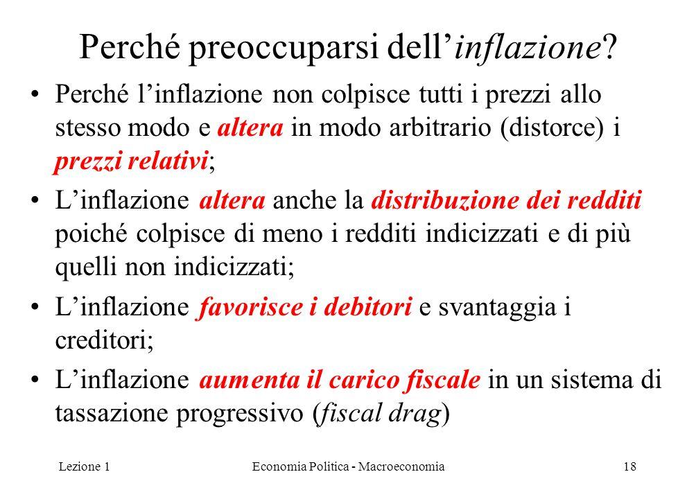 Lezione 1Economia Politica - Macroeconomia18 Perché preoccuparsi dell'inflazione? Perché l'inflazione non colpisce tutti i prezzi allo stesso modo e a