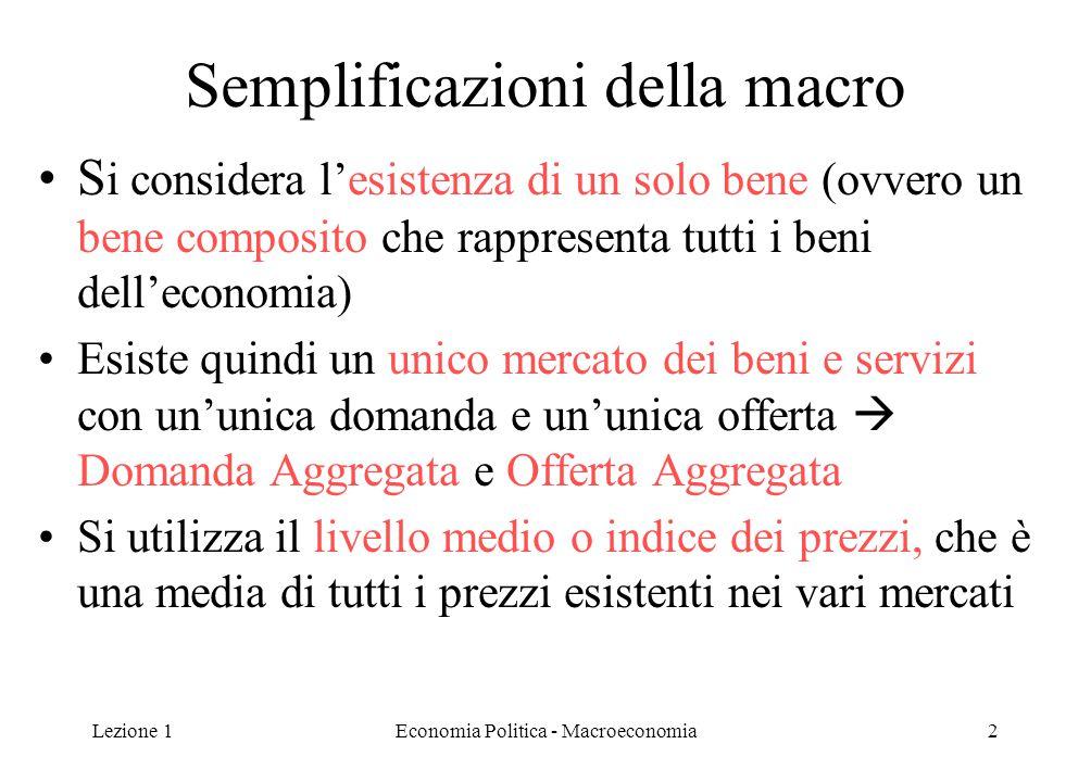 Lezione 1Economia Politica - Macroeconomia2 Semplificazioni della macro S i considera l'esistenza di un solo bene (ovvero un bene composito che rappre