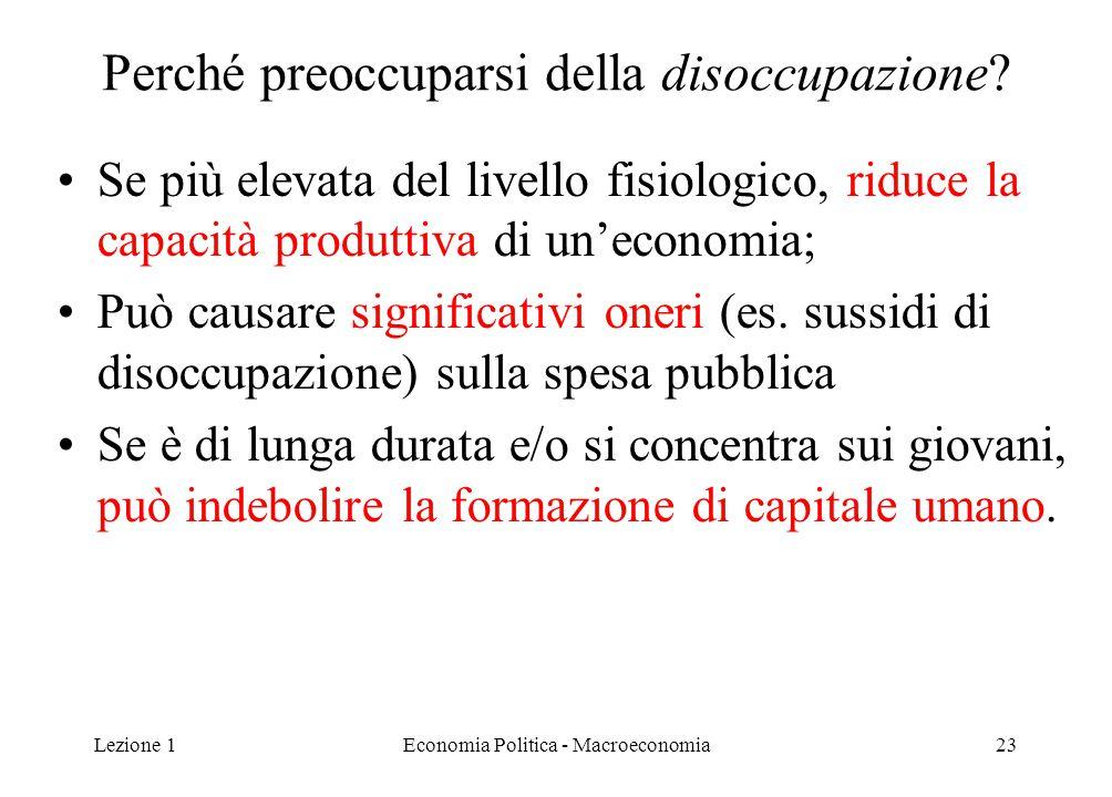 Lezione 1Economia Politica - Macroeconomia23 Perché preoccuparsi della disoccupazione? Se più elevata del livello fisiologico, riduce la capacità prod