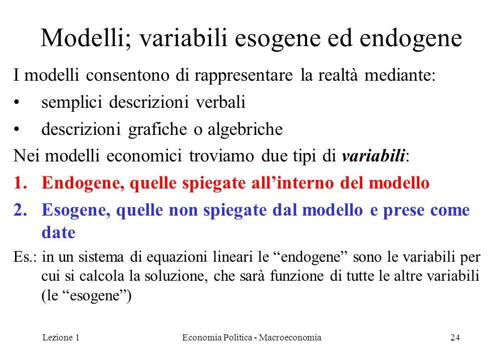 Lezione 1Economia Politica - Macroeconomia24 Modelli; variabili esogene ed endogene I modelli consentono di rappresentare la realtà mediante: semplici
