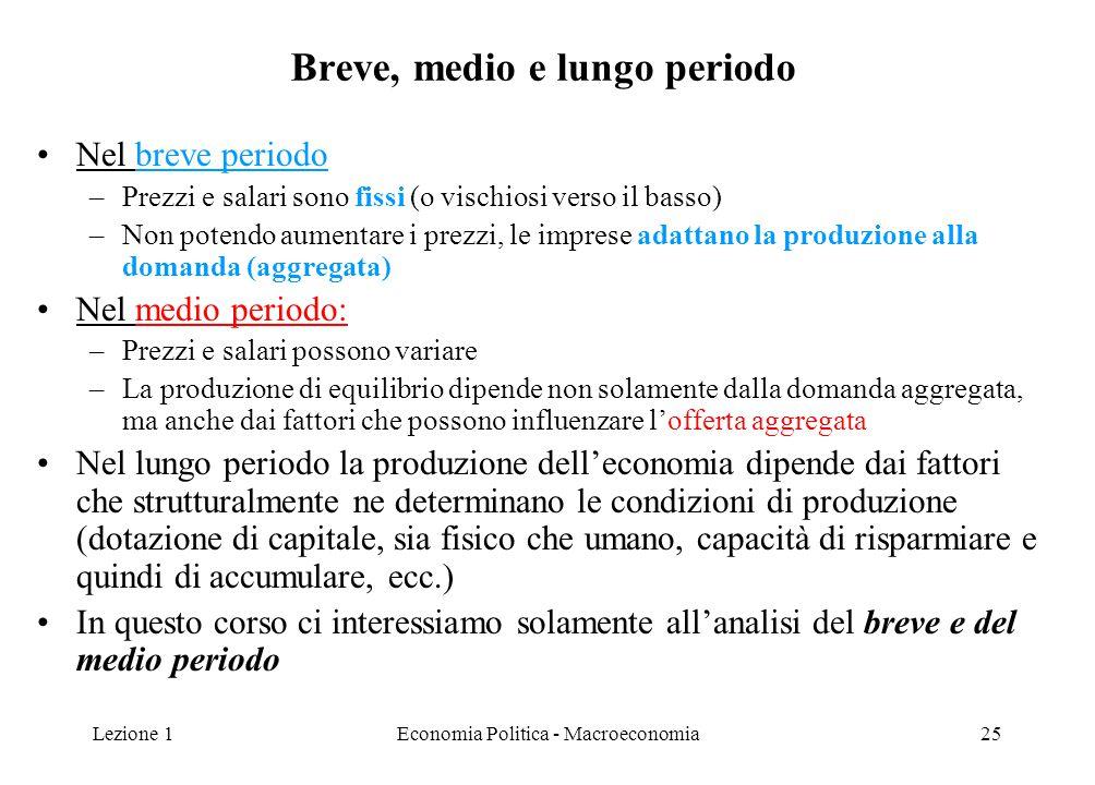 Lezione 1Economia Politica - Macroeconomia25 Breve, medio e lungo periodo Nel breve periodo –Prezzi e salari sono fissi (o vischiosi verso il basso) –