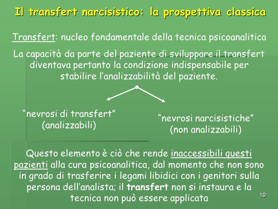 10 Il transfert narcisistico: la prospettiva classica Transfert: nucleo fondamentale della tecnica psicoanalitica La capacità da parte del paziente di