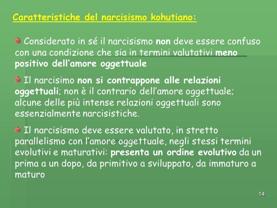 14 Considerato in sé il narcisismo non deve essere confuso con una condizione che sia in termini valutativi meno positivo dell'amore oggettuale Il nar
