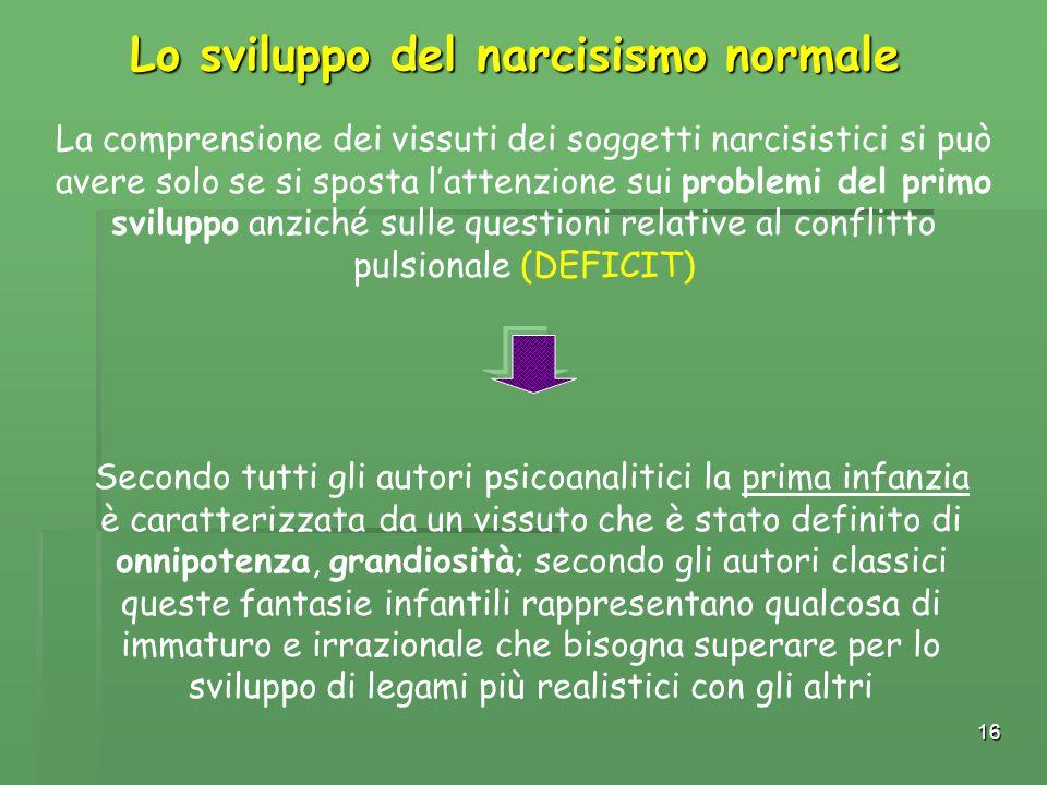 16 La comprensione dei vissuti dei soggetti narcisistici si può avere solo se si sposta l'attenzione sui problemi del primo sviluppo anziché sulle que