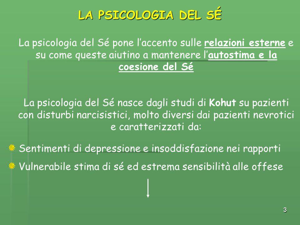3 LA PSICOLOGIA DEL SÉ La psicologia del Sé pone l'accento sulle relazioni esterne e su come queste aiutino a mantenere l'autostima e la coesione del