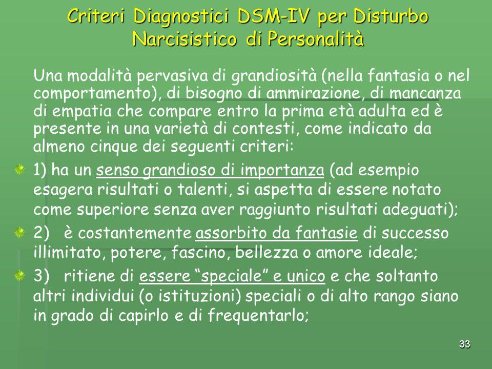 33 Criteri Diagnostici DSM-IV per Disturbo Narcisistico di Personalità Una modalità pervasiva di grandiosità (nella fantasia o nel comportamento), di