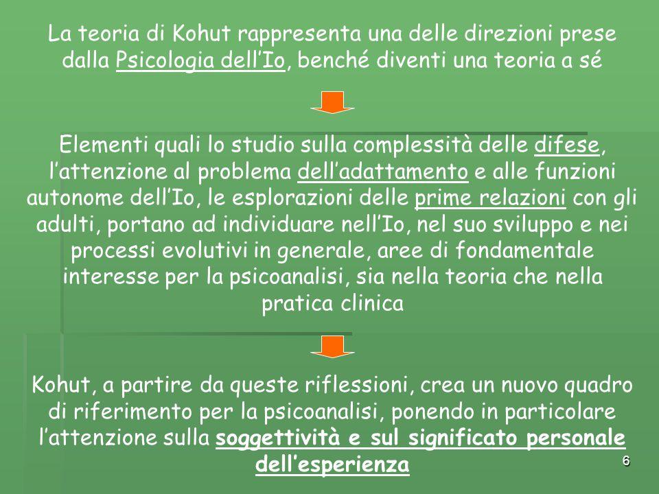6 La teoria di Kohut rappresenta una delle direzioni prese dalla Psicologia dell'Io, benché diventi una teoria a sé Elementi quali lo studio sulla com